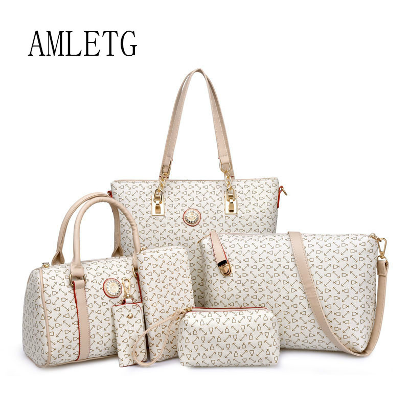 AMLETG 2018 Women Bag Brand Design Mother Bag Six Sets of Female Bone Pattern Europe and The United States Shoulder Women's Bags the design pattern intent ontology