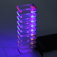 Voice Control Electronic Crystal Column DIY Kit Colorful Music Spectrum Suite Audio Indicator Making Light Cubic