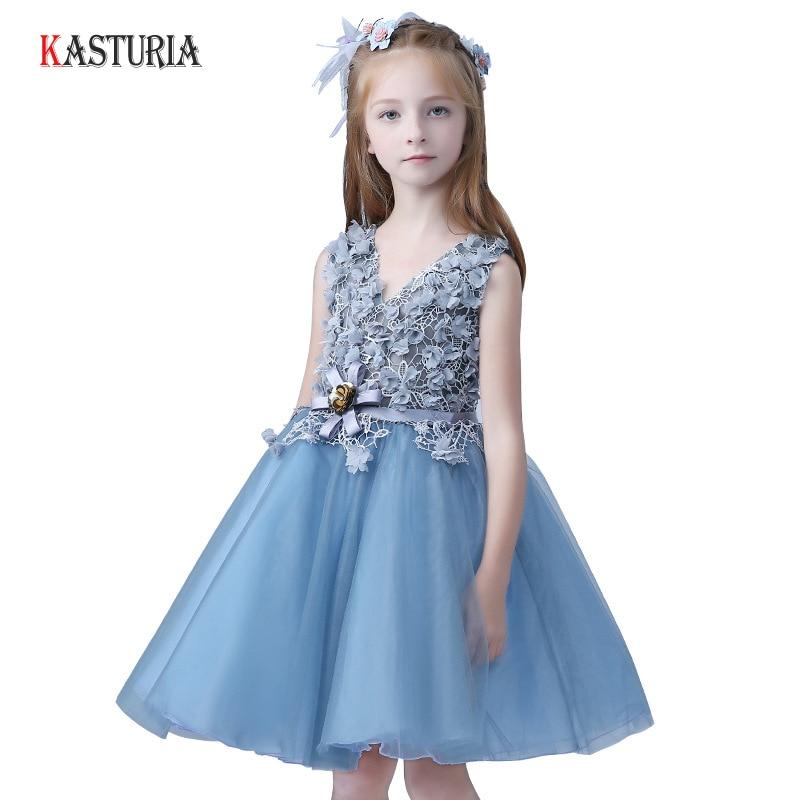 все цены на Fashion summer kids dresses children dress V-neck floral unicorn babygirl casual Party lace tutu dresses for girls dresses 2018