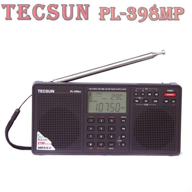 TECSUN PL 398MPสเตอริโอFM/SW/MW/LW DSP WeltวิทยุMp3 player Schwarz