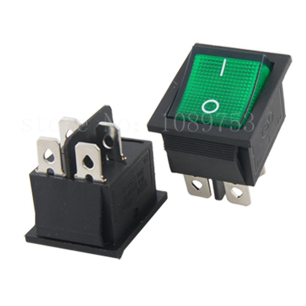 ᐅGreen Light 4 Pin DPST ON-OFF Snap In Rocker Switch AC 5pcs - a585