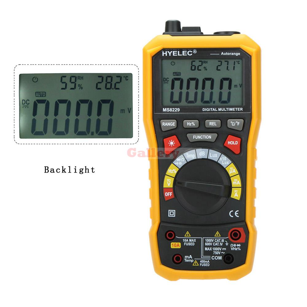 Hyelec Ms8229 5 In 1 Auto Range Dmm Digital Multimeter with Noise Temperature Luminance Test Function Multimetro 100% original fluke 15b f15b auto range digital multimeter meter dmm