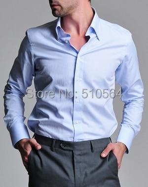 Custom made men 100%Cotton shirt Business casual men slim shirt ...