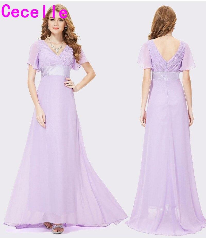 2019 lilas ruché en mousseline de soie a-lline plage longue modeste robes de demoiselle d'honneur avec manches col en V étage longueur robe de soirée de mariage