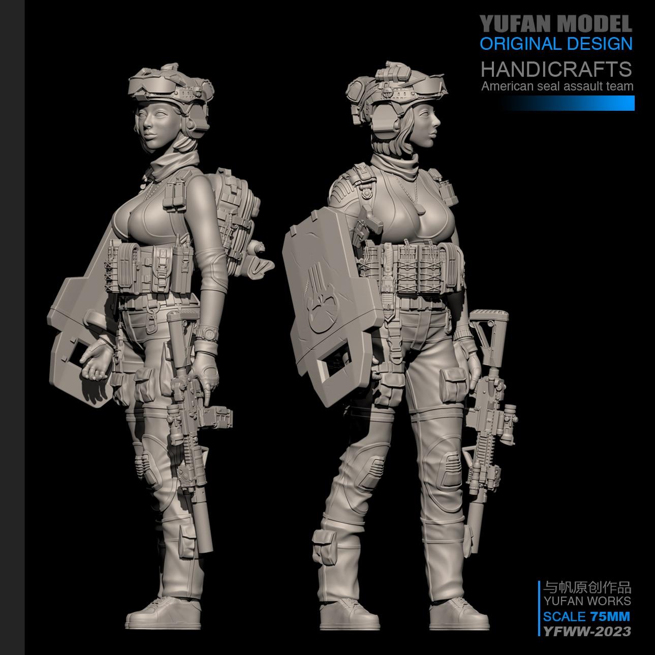 YUFan Model 1/24 Resin Kits Modern Female Soldier Resin Soldier Self-assembled (75mm) YFWW-2023