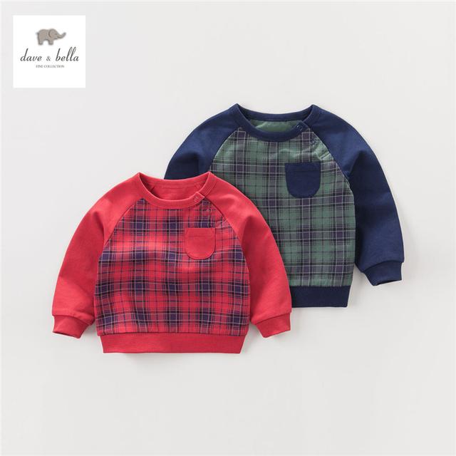 DB4263 dave bella outono bebê menino t-shirt grade menino de algodão xadrez vermelho e verde t camisa roupas infantis toddle tees