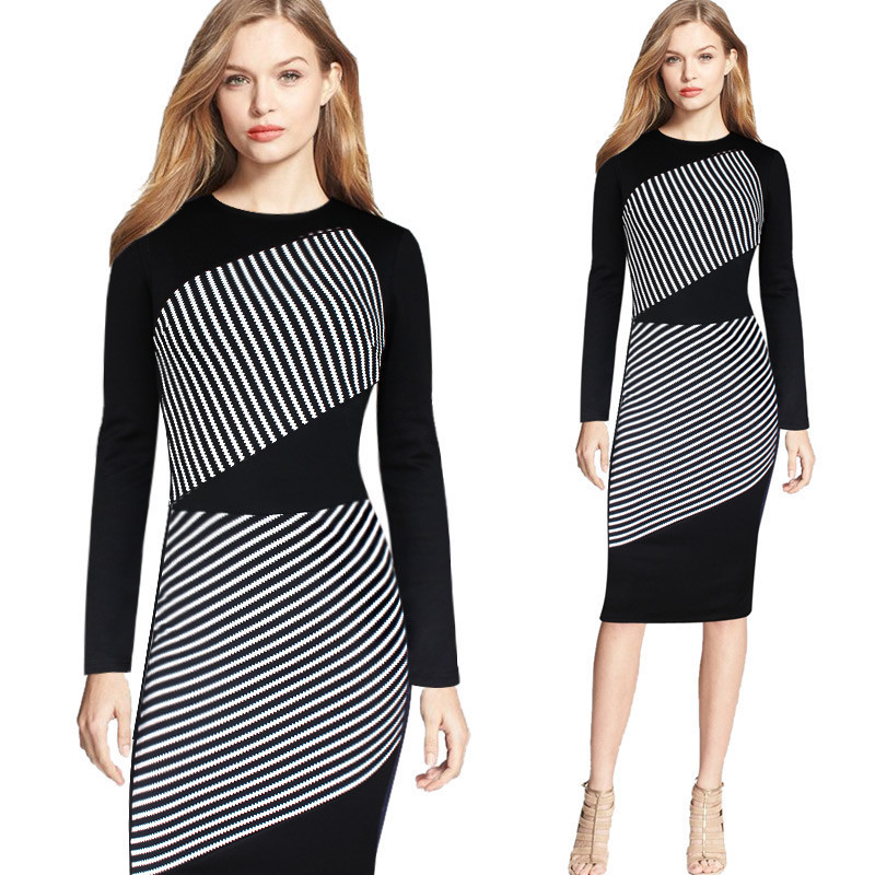 BRASEI 2016 Everyday Dresses For Women Slimming Wrap Women s Clothing  Autumn Casual Striped Bodycon Dress Fall Vestidos Mujer-in Dresses from  Women s ... 5413ead22ca1