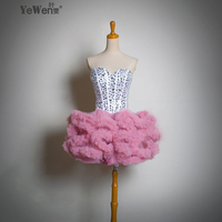 New Fashion Cute Girls Short Mini Feather Strapless White With Pink Sweet Bridesmiad Dresses Prom Dresses