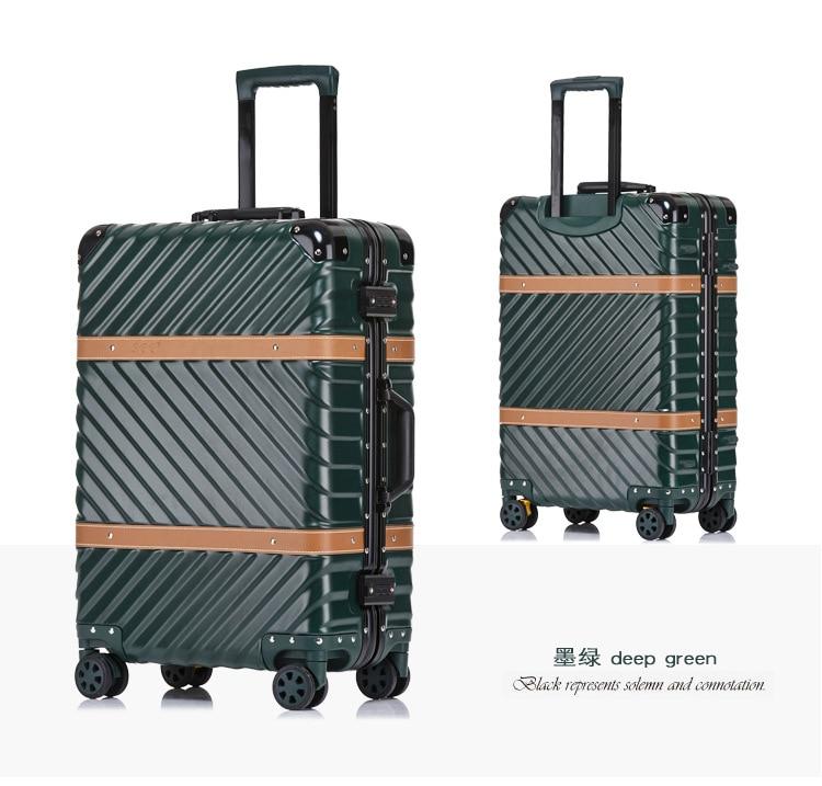 все цены на New Aluminum TSA Suitcase mala de viagem Travel Trolley Luggage Spinner Koffer valise walizka valise valigia avec roulettes