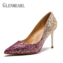 Women Wedding Shoes High Heels Brand Woman Pumps Bling Pointed Toe Sexy Female Party Shoes Spring Summber Plus Size New Arrival
