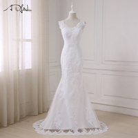 ADLN Sexy Lace Mermaid Wedding Dresses High Quality Plus Size V Neck Sleeveless Bridal Gowns Back