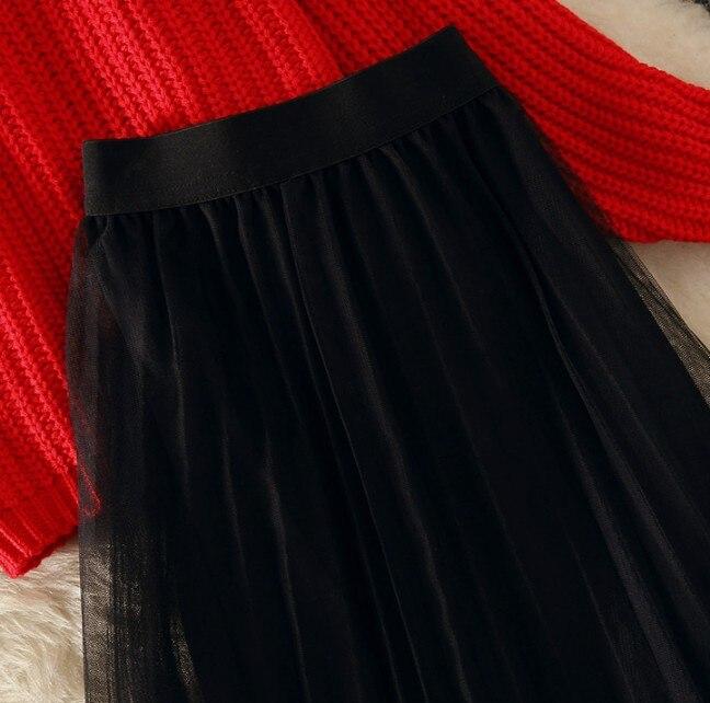 Primavera Set Nero 2019 Maglione Del Due Studenti Della Lunga Pullover Garza Di Pannello Nuovo Autunno E Manica Delle Rosso Pezzi Esterno Modo Donne qq1wtO