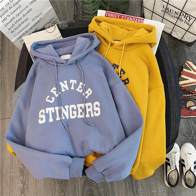 Hoodies moletom com capuz moletom feminino inverno hoodies feminino grosso outono inverno feminino mais camisolas de veludo tamanho M-2XL