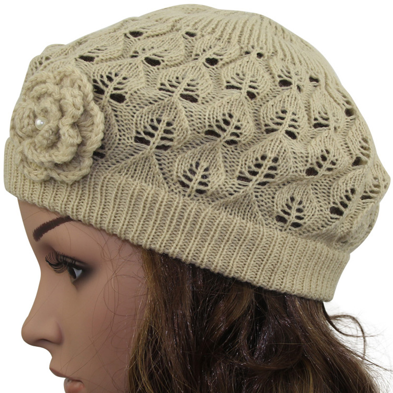 2016 Women s Super Soft Flower Laciness Light Weight Knit Beanie Hat Summer  hats Fashion Cap-in Berets from Apparel Accessories on Aliexpress.com  c358fc9ddc6