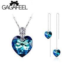 2015 Nueva Moda Romántica del Corazón Del Océano Azul colgante de Cristal y pendientes, Real de plata de ley 925 sistemas de la joyería para la señora CYS001