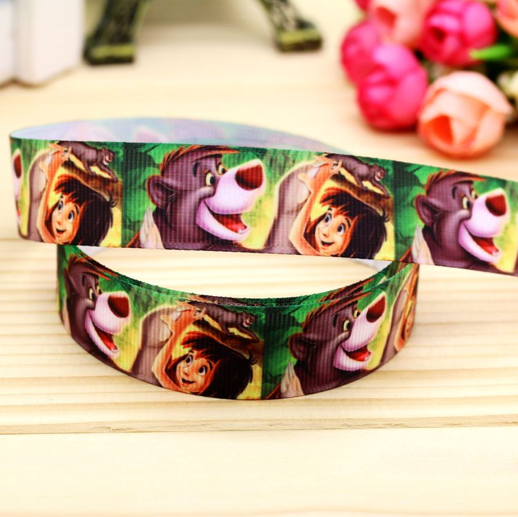 7/8 Free shipping Jungle Book printed grosgrain ribbon hair bow headwear party decoration wholesale OEM 22mm H5067