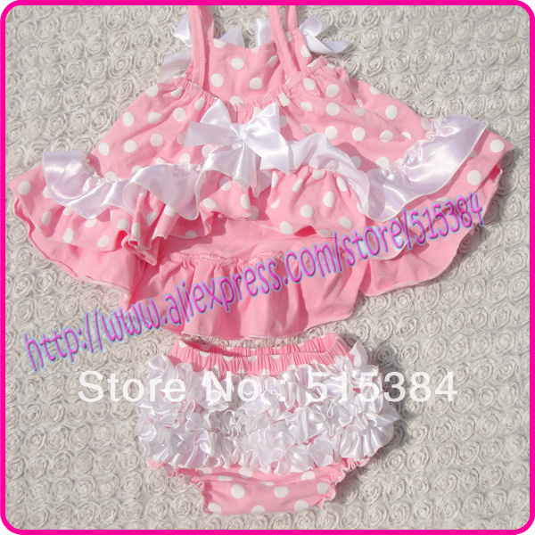 8bf7a42df9816 wholesale pink white dots ruffle dress with bloomer set cute baby boutique  cotton clothing set 3set