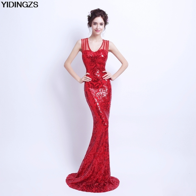 YIDINGZS Slim Red Mermaid Sequined Long Prom Dresses Fashion Prom Party Dresses