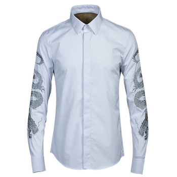 Italy style brand long-sleeved cotton shirts men quality fashion white men shirt casual solid high end shirt male tops chemise