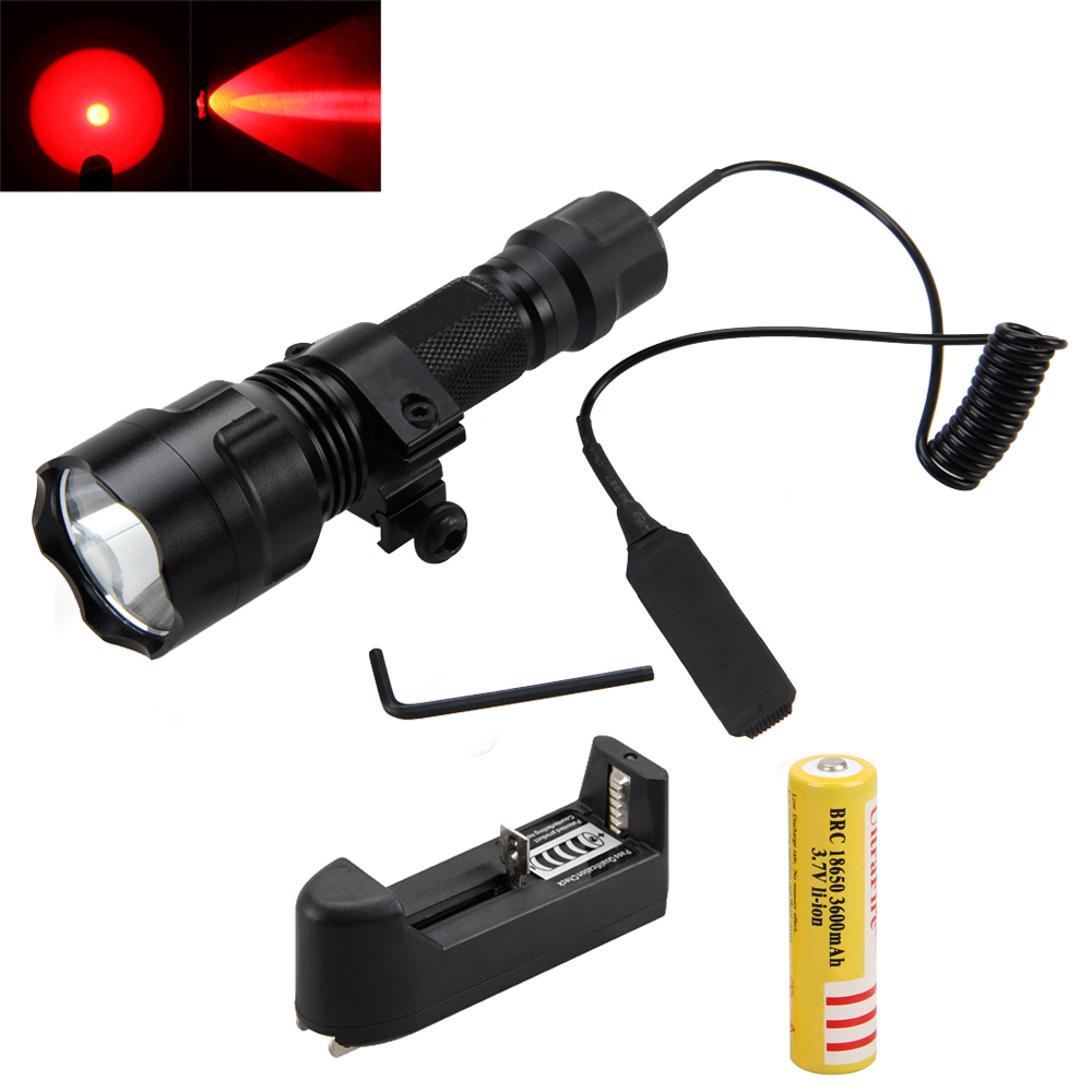 2500LM XML t6 Red LED Tactical Flashlight TorchLight Gun Mount+Pressure Switch+18650 Battery+Charger anjoet led hunting flashlight 6000 lumens 3 x xml t6 5mode 3t6 torch light suit gun mount remote pressure switch charger