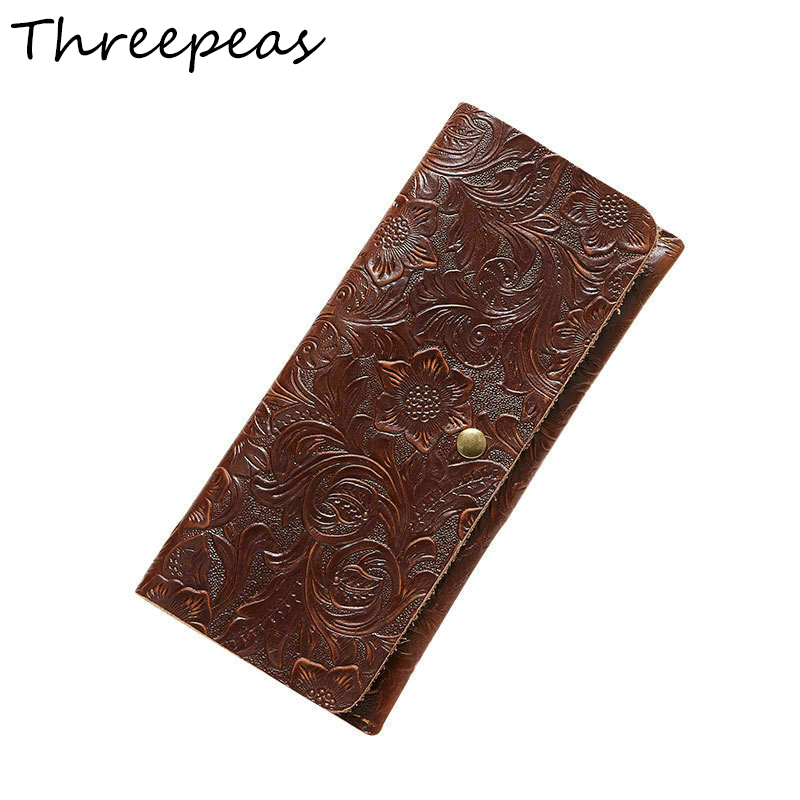 THREEPEAS Embossed Flowers Genuine Leather Women Wallets Brand Design Fashion Long Purse Clutch Coin Purse Card Holder Lady threepeas vintage fashion women wallets 100% genuine cow leather cowhide women long wallet purse card holder clutch bags