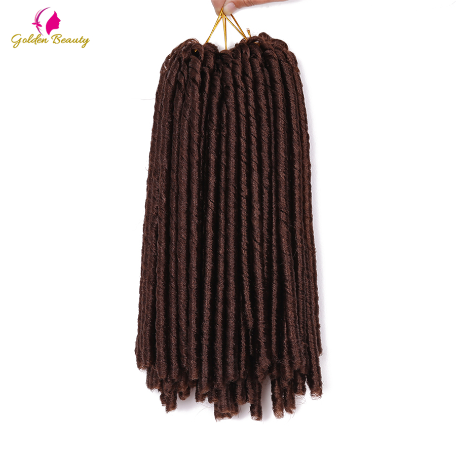 Faux Dreadlocks Crochet Braid Hair Extensions 14'' Synthetic Braiding Hair Soft Dread Locs High Temperature Fiber Golden Beauty