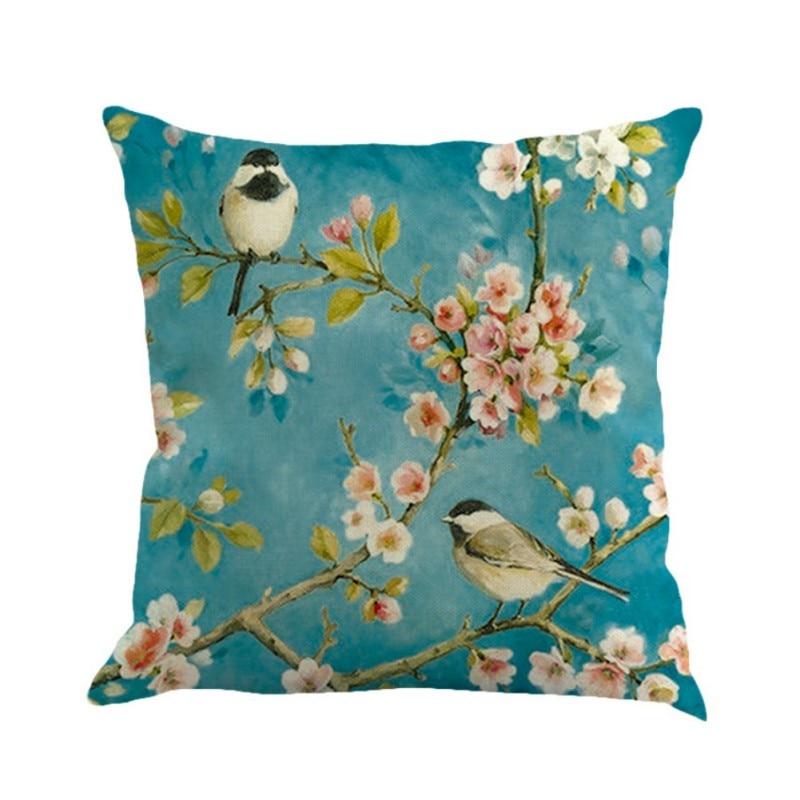 Painting Birds Pattern Decor Cotton Linen Cushion cover Pillowcase 45x45cm