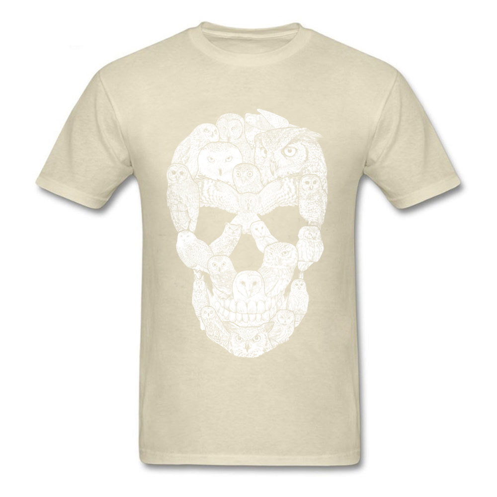 Sketchy Owl Skull Mother Day 100% Cotton Fabric Crew Neck T Shirt Short Sleeve Group Tops T Shirt Company Slim Fit T-Shirt Sketchy Owl Skull beige
