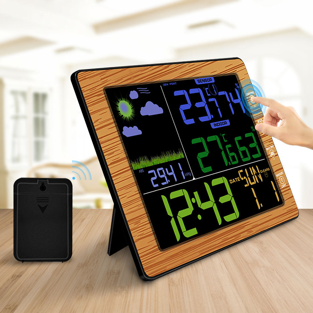 Wireless Thermometer Hygrometer Indoor Outdoor Weather Station Temperature Humidity Meter Color Screen Alarm Clock