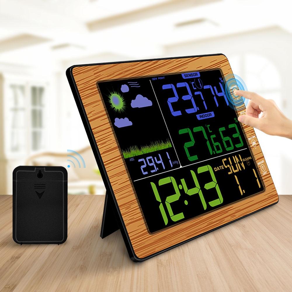 Indoor Outdoor Estação Meteorológica sem fio Termômetro Higrômetro Temperatura Umidade Medidor de Cor Despertador Tela