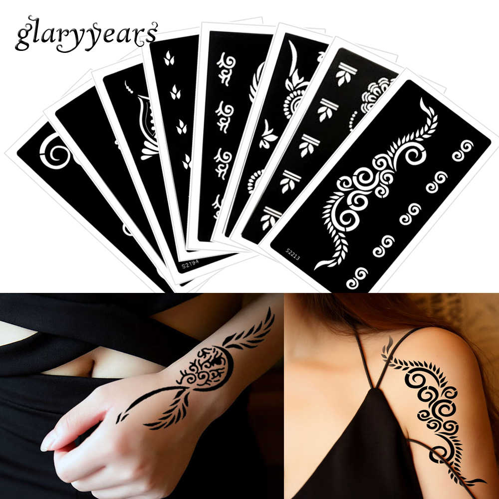 Glaryyears 8 Pieces Set 9 5 18 5cm Henna Tattoo Stencil For Body Painting Airbrush Glitter Drawing Template Hand Leg Art S200 37 Tattoo Stencil Stencils For Body Paintinghenna Tattoo Stencils Aliexpress