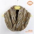 2015 Новый Дизайн Большой Вязаная Мода Кролика Натуральный Мех Шеи теплее С Крестом На Фронт Большой Вязаный Мех шарф