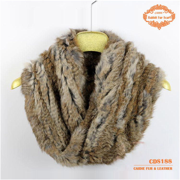 2015 New Design Big Knitted Fashion  Rabbit Real Fur Neck Warmer With Cross On The Front  Big Knitted Round  Fur Scarf