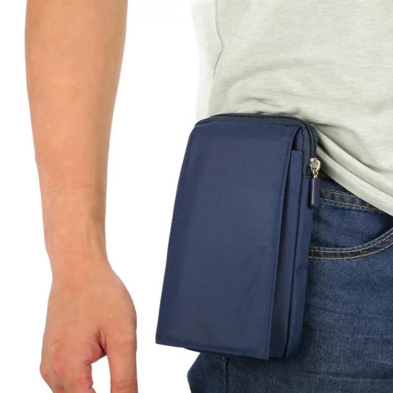 Nový univerzální zip venkovní sportovní peněženka mobilní telefon taška pro více telefonů bederní pás pás pouzdro vodotěsné plátno s 3 kapsou