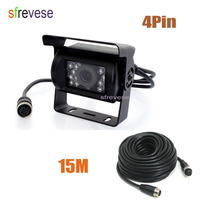 4 Pin IR Night Vision CCD Color Vehicle Car Rear view Reverse Reversing Parking Backup Camera Wide View Waterproof + 15m cable