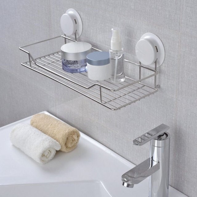 Garbath Suction Bathroom Shelf Wall Mounted Unit Stainless Steel ...