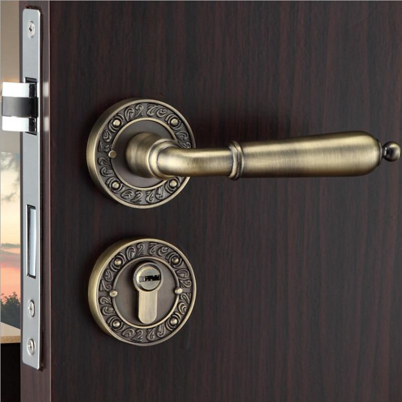 Serrure de porte ROSSETTE en alliage de ZINC SIMPLE style cuivre ANTIQUE avec corps de serrure et cylindre