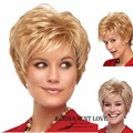 Blonde short pixie Wigs side bangs Heat Resistant synthetic natural straight layered hair wigs for Women Wigs pelucas pelo corto