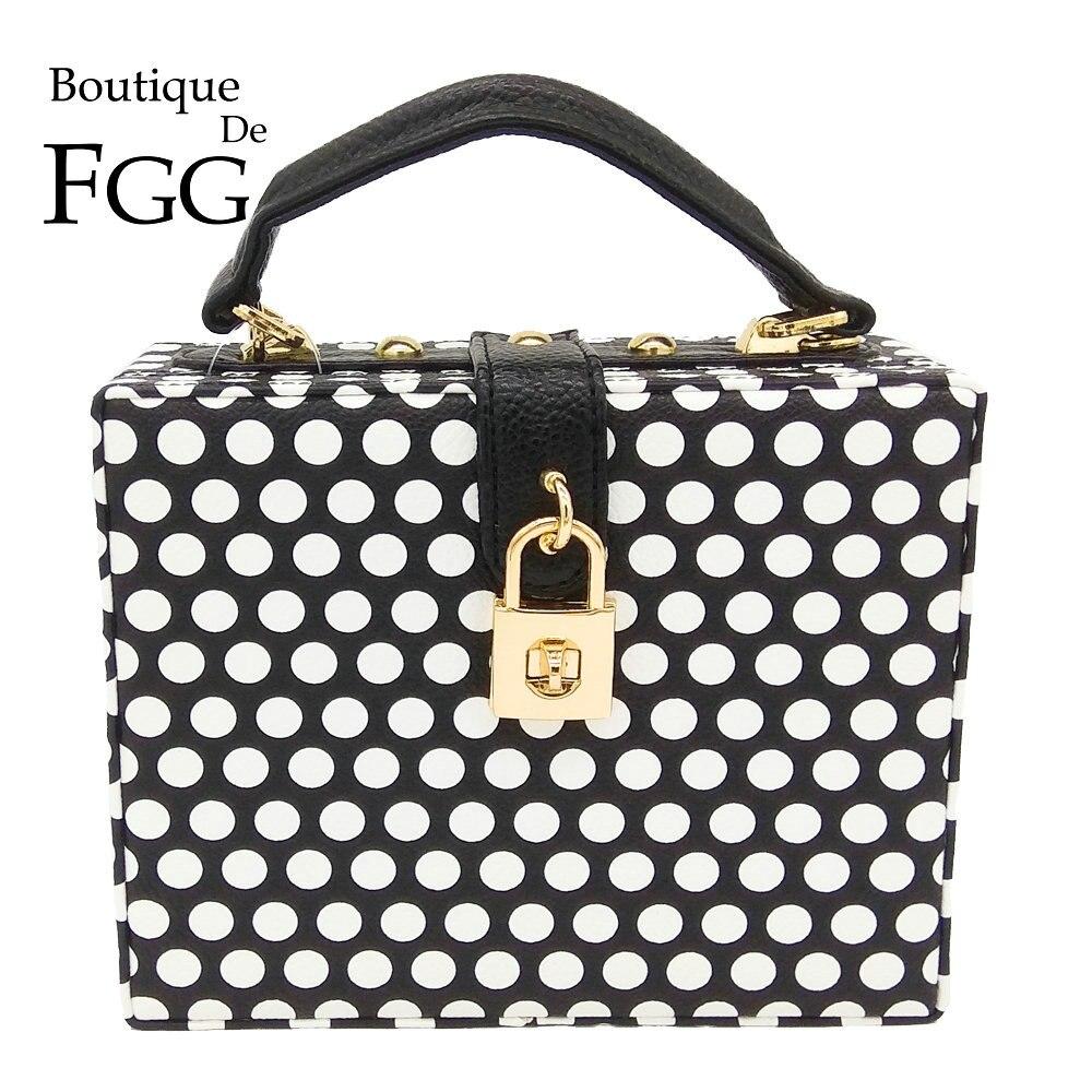 Boutique De FGG Polka Dot Women Fashion Shoulder Handbags and Purse Box Clutch Tote Ladies Casual