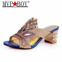 Mvp Boy Bling Platform Slippers Crystal Summer High Heels Casual Flip Flops Slip On Shoes Woman Fashion Slippers Eu size 34-41 цены онлайн