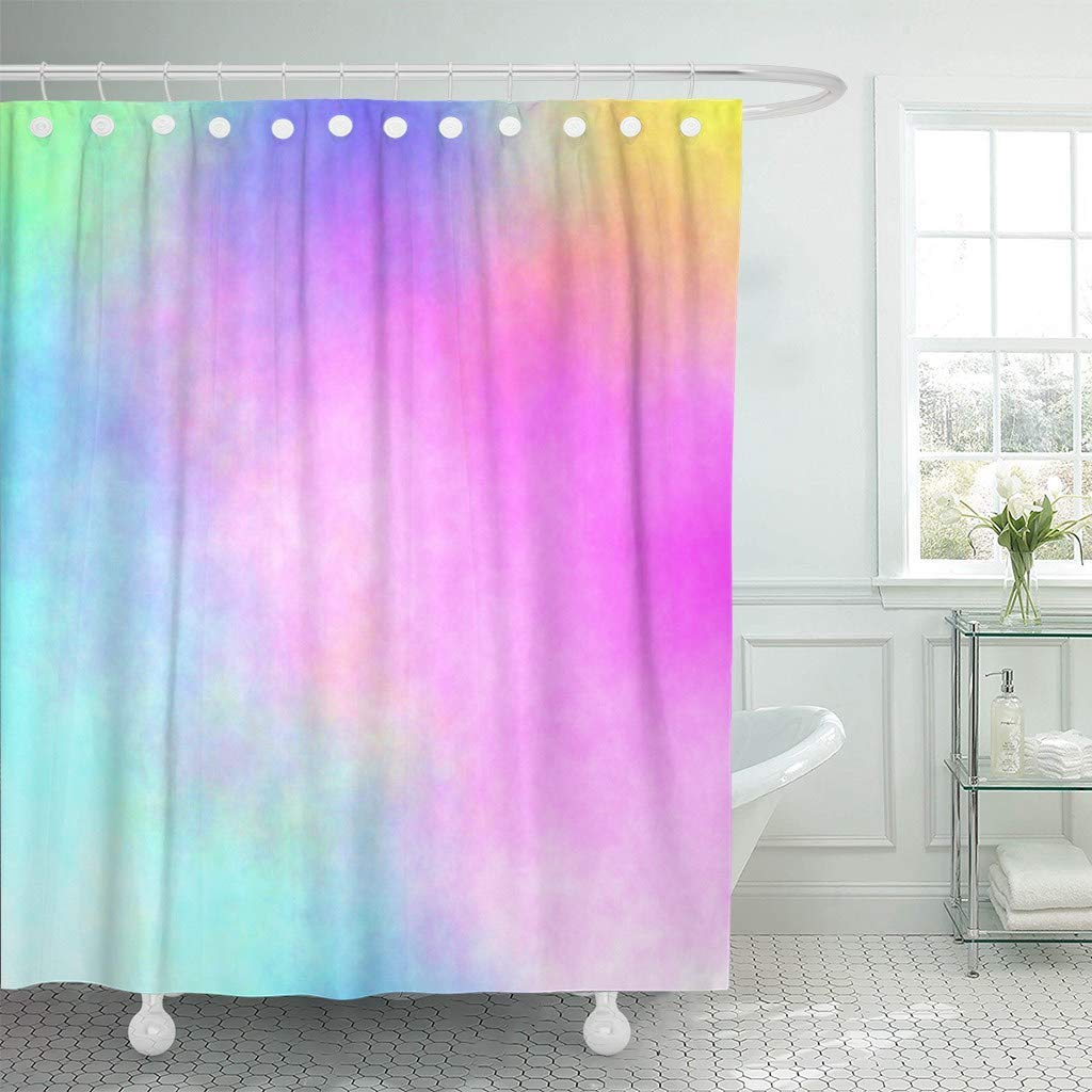 Us 18 73 25 Off Fabric Shower Curtain With Hooks Pink Rainbow Watercolor Stained Colorful Abstract Green Fuchsia Mix Bright Magenta In Shower