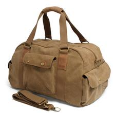 2016 Khaki Real Vintage Canvas Leather Men Travelsoft Zipper Bags Carry On Luggage Duffel Tote Large Weekend Bag Overnight