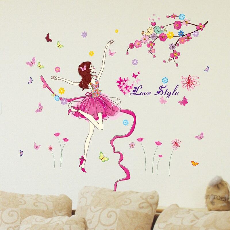 Ballet Dancer Wall Sticker Cartoon Girl Dancing Elven Fairy Wall Decor For Kids Room Baby Bedroom Decoration shijuekongjian Faithful