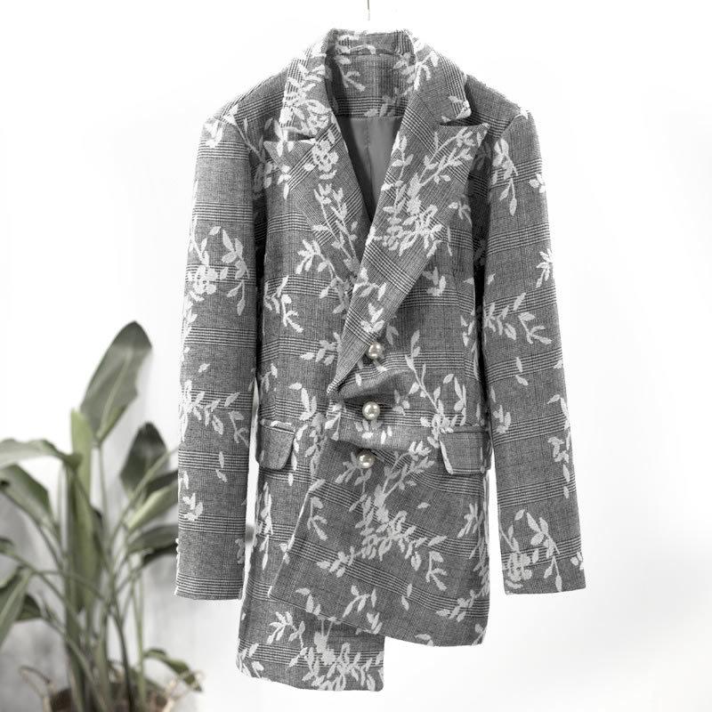 2019 Mode Pleine Poitrine Automne À J153 Blazer Femmes Gray Unique Fleurs Broderie Manches Oloeyeurope Entaillée Nouveau Pochette w4WftqtxRn
