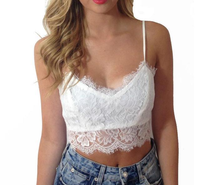 2018 Sexy Camis Women Summer Lace Tops Sleeveless Solid Crop Top Tee Shirt Short Shirts