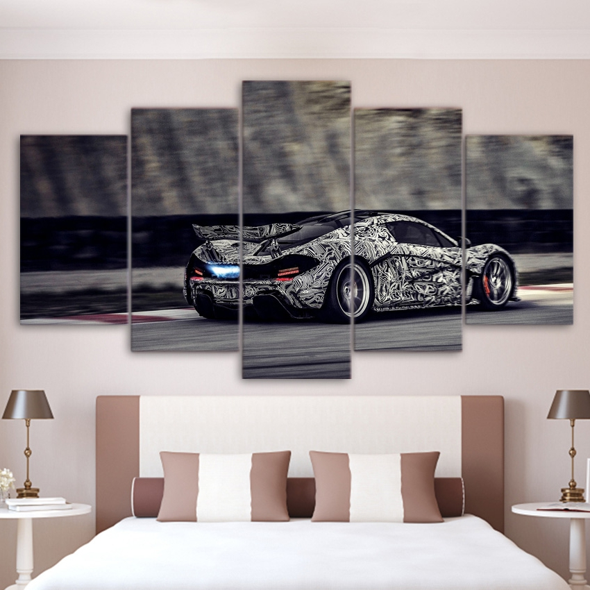 modern abstract painting hd printed wall art pictures frame for living room decor 5 piece white stripes car canvas poster pengda
