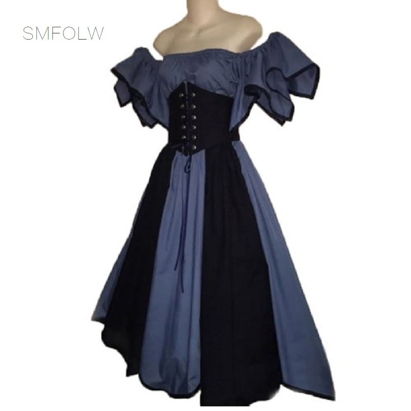 Plus Size Medieval Dresses: SMFOLW Medieval Long Dress Maxi Vintage Short Gowns Gothic