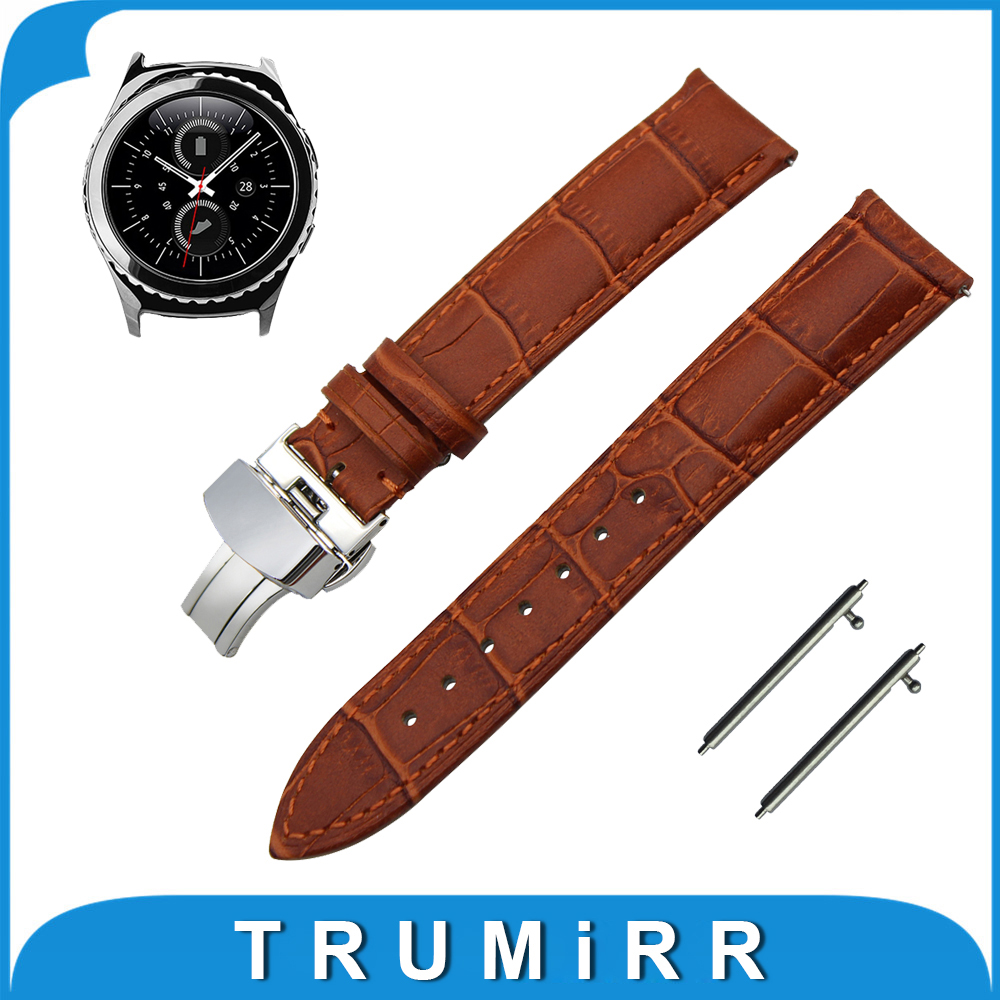 20mm Genuine Leather Watch Band Quick Release Strap for Samsung Gear S2 Classic R732 / R735 Butterfly Buckle Wrist Belt Bracelet genuine leather watch band strap for samsung galaxy gear s2 classic r732 black