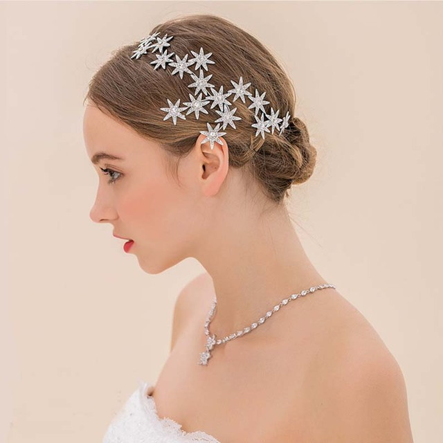 New Elegant Sparkly Crystal Star Tiara Hair Hoop Silver Plated Bride Headdress R