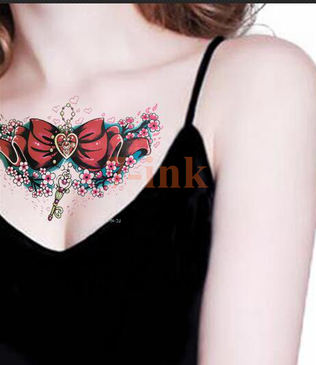 Waterproof Temporary Tattoo sexy Sailor moon Women large size Key Necklace Red Design Cool Fake Tattoo for gril woman